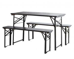 Black-folding-table-bench-set
