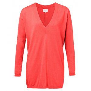 Yaya gebreide trui met v-hals rood - wonen & lifestyle