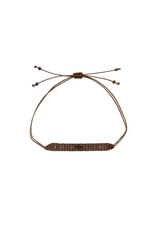 Zusss geweven kralen armbandje bruin - wonen & lifestyle