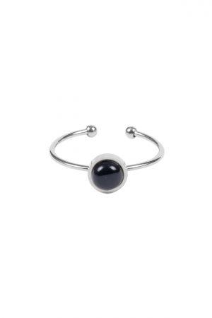 Zusss ring met ronde steen zilver zwart - wonen & lifestyle