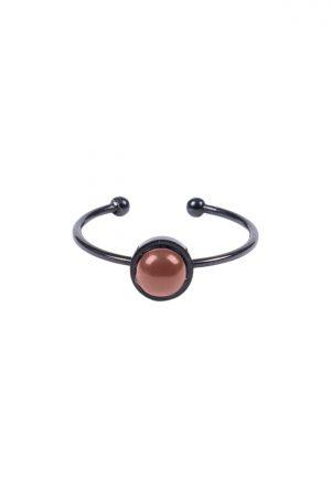 Zusss ring met ronde steen zwart brique - wonen & lifestyle