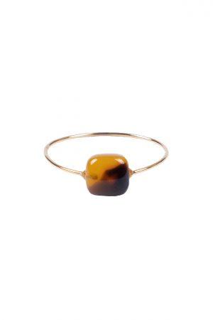 Zusss ring met vierkante steen goud bruin - wonen & lifestyle