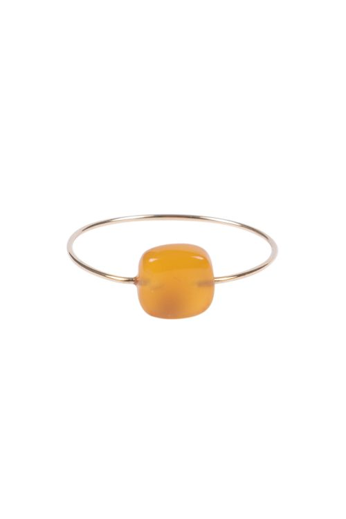 Zusss ring met vierkante steen goud oranje - wonen & lifestyle