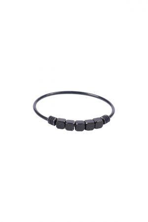 Zusss ring met metalen kraaltjes zwart - wonen & lifestyle