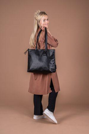 zusss royale shopper zwart gewafeld no28 wonen en lifestyle