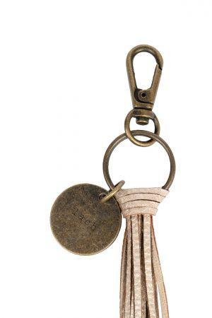 zusss sleutelhanger lach poederroze metallic