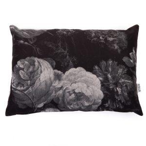 kussen vintage flower zwart/grijs 40x60