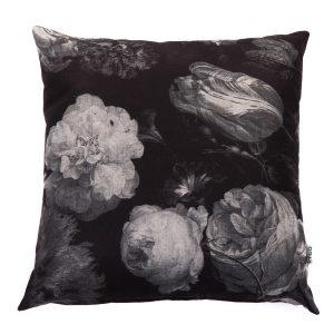 kussen vintage flower zwart/grijs 50x50