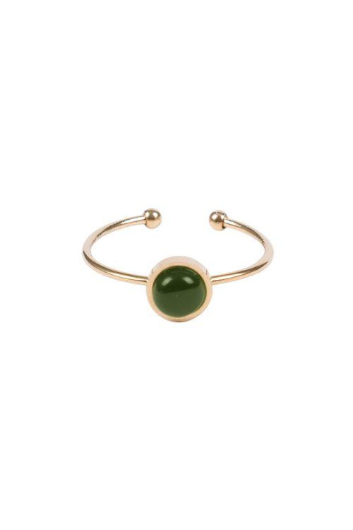 Ring met ronde steen goud groen