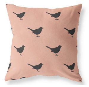 Label -R outdoor kussen vogeltje oudrose