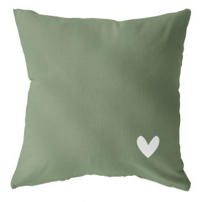 Label -R outdoor kussen olijfgroen met wit hart