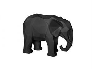 PT - statue origami elephant polyresin small matt black - wonen en lifestyle webshop no28wonen