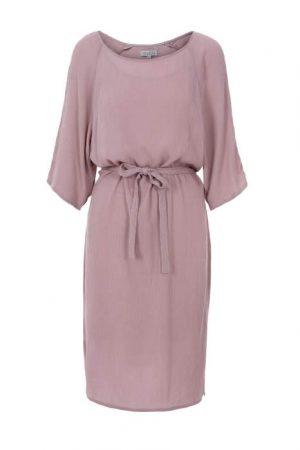 Zusss nonchalante jurk met ceintuur lila no28wonen