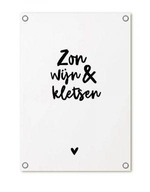 zoedt tuinposter met tekst zon wijn kletsen no28wonen en lifestyle webshop