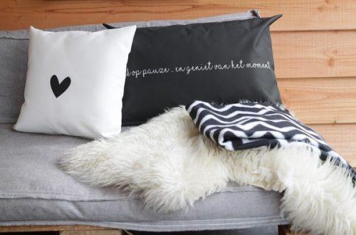 LabelR outdoor kussen zwart met streep wit 60x40 no28 wonen en lifestyle webshop