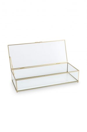 Vt wonen - glazen box goud 42x16,5x9 cm no28wonen.nl wonen en lifestyle webshop