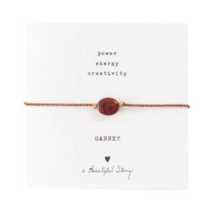 no28wonen.nl -a Beautifull Story - verstelbare armband rood garnet-no28wonen en lifestyle