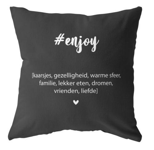 labelR kussen zwart enjoy no28wonen.nl wonen en lifestyle webshop