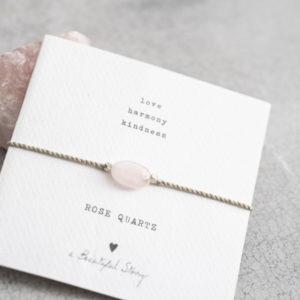 no28wonen.nl -a Beautifull Story - verstelbare armband zilver rose quartz -no28wonen en lifestyle
