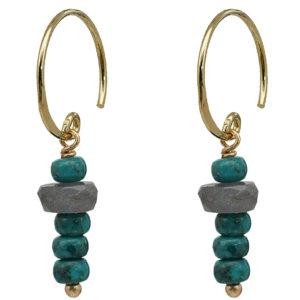 no28wonen.nl686 Saya Mala Earring 09 Turquoise Labradorite Gold