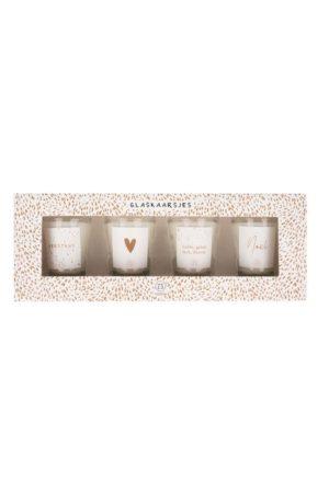 no28wonen.nl -Zusss - set van 4 glaskaarsjes met tekst wit - no28wonen en lifestyle