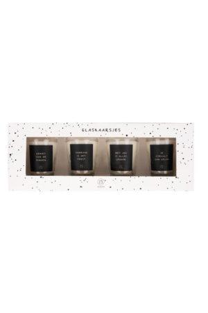 no28wonen.nl -Zusss - set van 4 glaskaarsjes met tekst - no28wonen en lifestyle