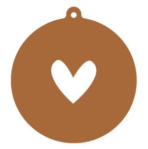 label-r kerstbal bruin met wit hart no28wonen.nl wonen en lifestyle webshop