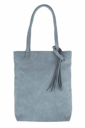 basic shopper met kwast grijs-blauw - No 28 wonen & lifestyle
