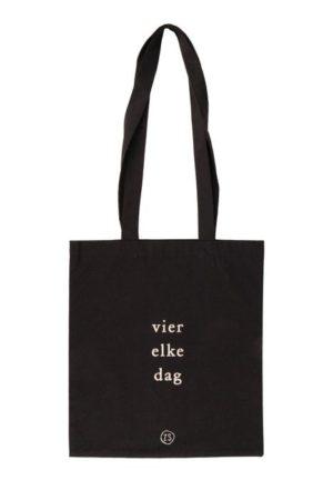 no28wonen.nl -Zusss katoenen tasje vier elke dag zwart - no28wonen en lifestyle