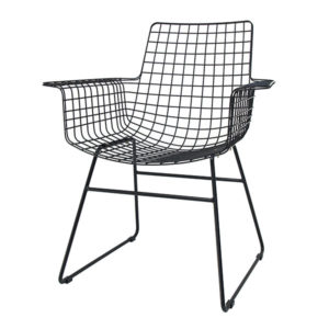 HK living - metal wire arm chair black shop je bij no28.nl