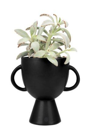 Zusss - bloempot met handvatten keramiek 15x20cm zwart - wonen en lifestyle webshop no28wonen