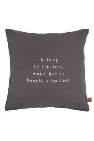 Zusss - buitenkussen loop te fluiten 45x45cm grafietgrijs shop je bij no28.nl