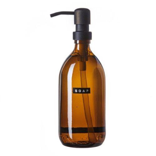 Wellmark - handzeep bamboe bruin glas zwarte pomp 500ml (soap) - wonen en lifestyle webshop no28wonen