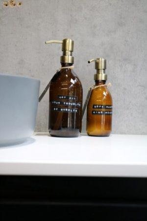 Wellmark - handcréme bamboe bruin glas messing 250ml (soft hands kind heart) - wonen en lifestyle webshop no28wonen