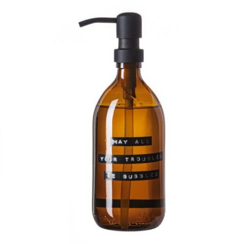 Wellmark - handzeep bamboe bruin glas zwarte pomp 500ml (may all your troubles be bubbles) - wonen en lifestyle webshop no28wonen