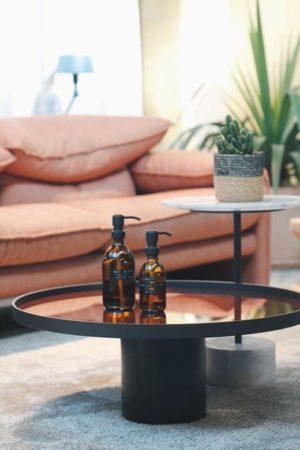 Wellmark - handzeep bamboe bruin glas zwarte pomp 250ml (may all your troubles be bubbles) - wonen en lifestyle website no28wonen