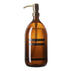Wellmark - afwasmiddel bamboe bruin glas messing pomp 1L (clean dishes dirty wishes) - wonen en lifestyle webshop no28wonen