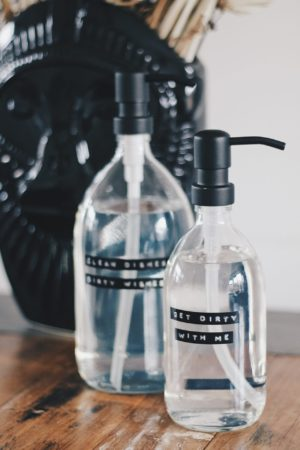 Wellmark- afwasmiddel bamboe helder glas zwarte pomp 1L (dish soap) - wonen en lifestyle webshop no28wonen