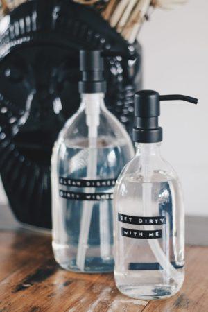 Wellmark - afwasmiddel bamboe helder glas zwarte pomp 1L (dish soap) - wonen en lifestyle webshop no28wonen