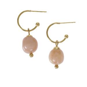 Maansteen oorbellen roze van Pimps en Pearls - wonen en lifestyle webshop