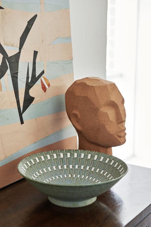 Abstract hoofd sculptuur terracotta - wonen en lifestyle webshop no28wonen