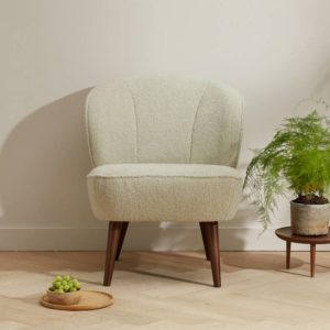 Sara fauteuil teddy off white Woood - wonen en lifestyle webshop no28wonen