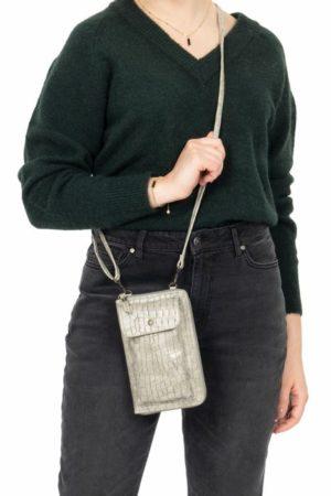 Zusss handig portemonnee telefoontasje kroko zand wonen en lifestyle webshop